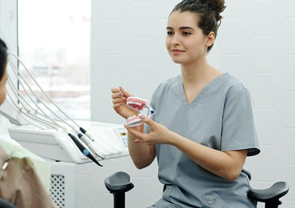 Different types of dental implants and restorations