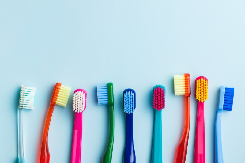 colorful row of toothbrushes